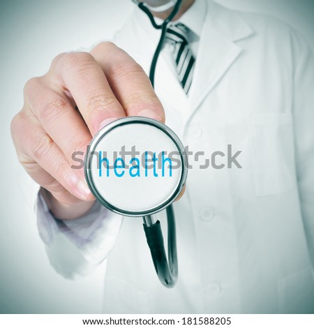 doctor with a stethoscope with the word health written in it - stock photo