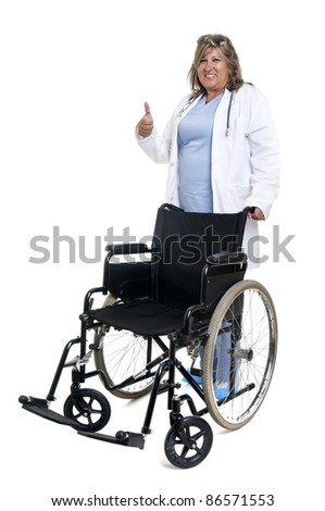 Doctor with a wheelchair isolated in white