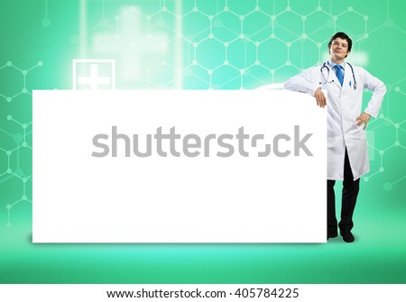 Doctor with banner - stock photo