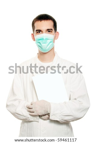 doctor with blank paper - stock photo