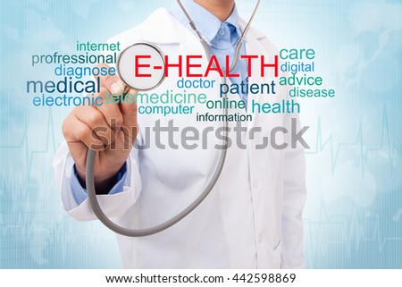 Doctor with e-health word cloud. medical concept - stock photo