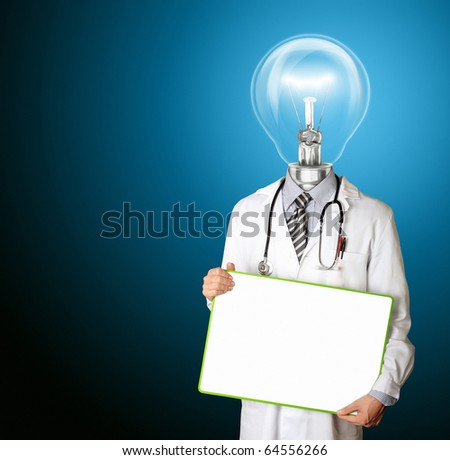 doctor with empty board in his hands template and lamp-head, isolated - stock photo