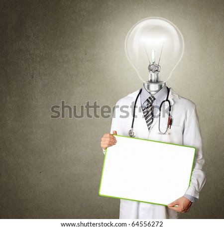 doctor with empty board in his hands template and lamp-head, isolated