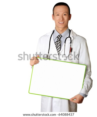 doctor with empty board in his hands template, smiles at camera, isolated - stock photo