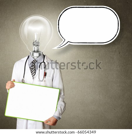 doctor with empty board  in his hands with thought bubble template, smiles at camera, isolated - stock photo