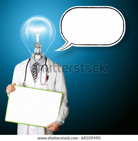 doctor with empty board  in hith hands with thought bubble template, smiles at camera, isolated