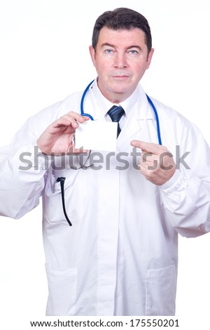 doctor  with empty card - stock photo