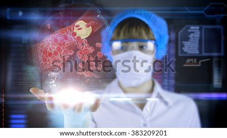 Doctor with futuristic hud screen tablet. Clogged Artery cholesterol plaque. Medical concept of the future.