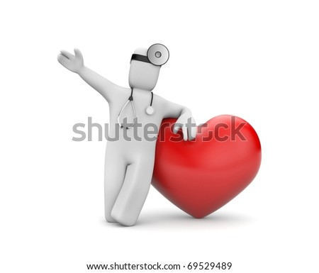 Doctor with heart - stock photo