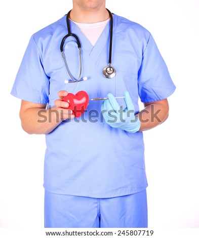 Doctor with heart and syringe, isolated on white - stock photo
