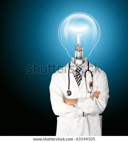 doctor with lamp-head isolated on different backgrounds - stock photo