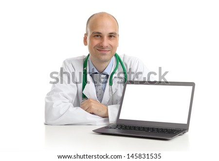 doctor with laptop - stock photo