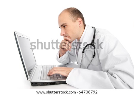 doctor with laptop isolated on white - stock photo