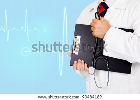 Doctor with medical background - stock photo