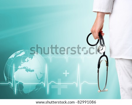 Doctor with medical green background - stock photo