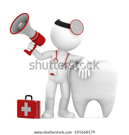 Doctor with megaphone in front of big white tooth. Isolated - stock photo