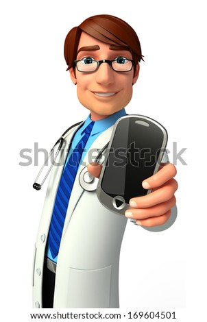 Doctor with mobile - stock photo