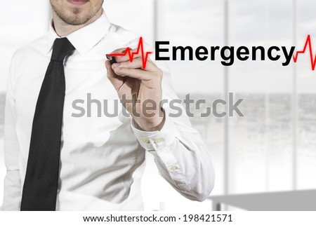 doctor with necktie drawing heartbeat line emergency - stock photo