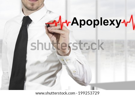 doctor with necktie drawing red heartbeatline apoplexy - stock photo