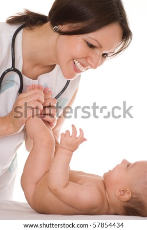 Doctor with newborn child on a white background - stock photo