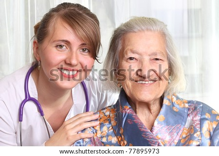Doctor with patient - stock photo