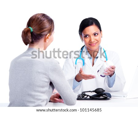 Doctor with patient woman. Isolated on white background. - stock photo