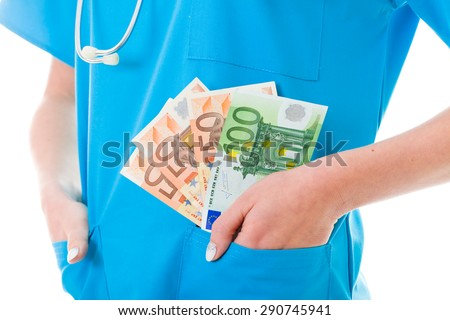 Doctor with payment in her pocket in blue coat.
