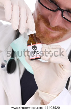 doctor with poison bottle on white background