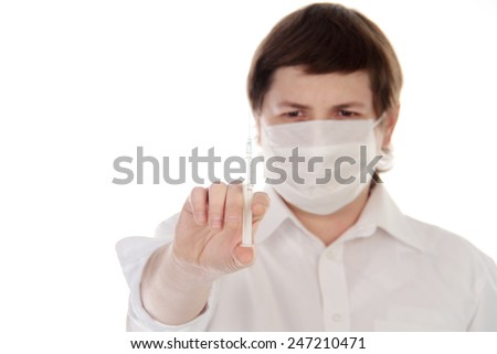 doctor with prick - stock photo