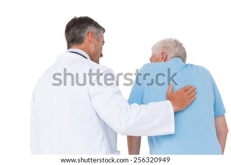 Doctor with senior patient on white background - stock photo