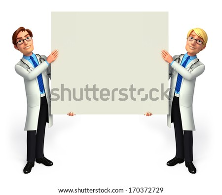 Doctor with sign - stock photo