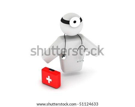 Doctor with stethoscope and first aid kit isolated on white background. High quality 3d render. - stock photo