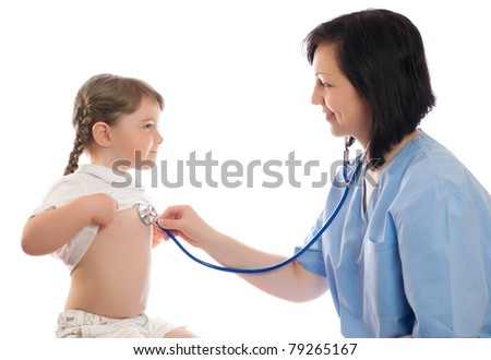 Doctor with stethoscope and little smiling girl isolated - stock photo