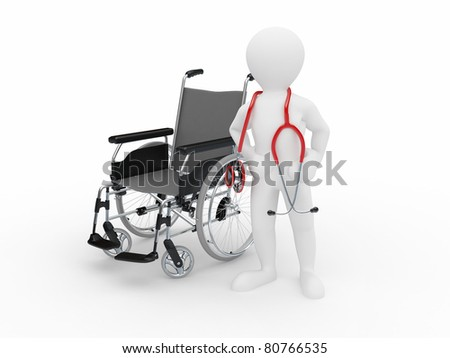 Doctor with stethoscope and  whellchair on white isolated background. 3d - stock photo
