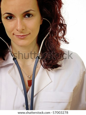Doctor with stethoscope isolated on white. - stock photo