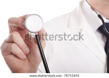 Doctor with stethoscope on white background - stock photo