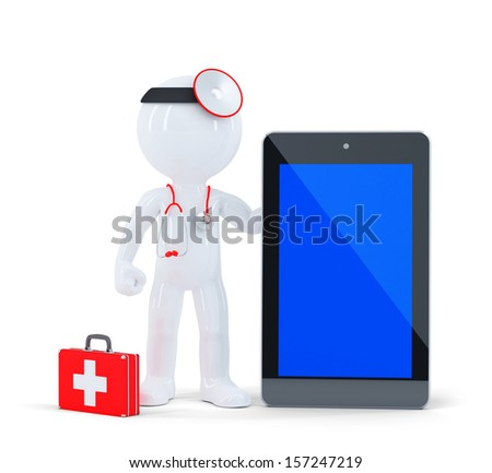Doctor with stethoscope showing blank digital tablet pc. Isolated on white. - stock photo