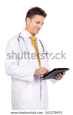 Doctor with tablet isolated against a white background - stock photo