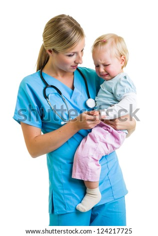 Doctor with toddler child isolated on white - stock photo