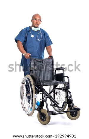 Doctor with wheelchair isolated against a white background