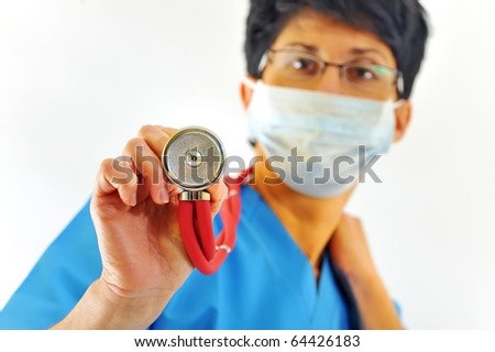 doctor withs stethoscope on a white