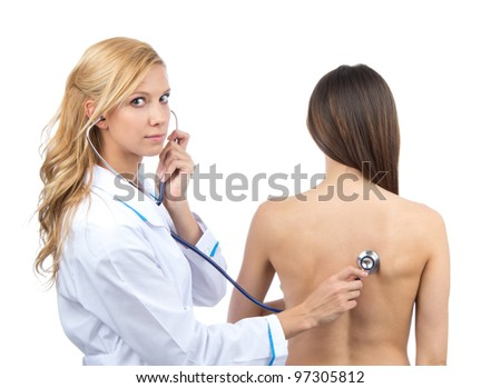 Doctor woman auscultating young patient by stethoscope isolated on a white background - stock photo