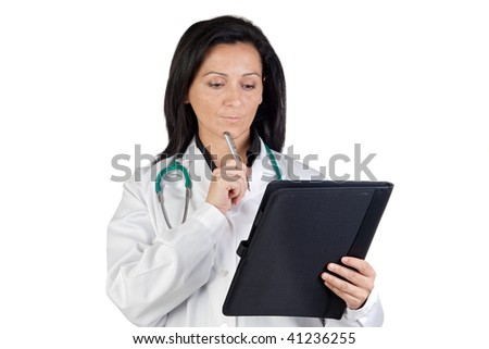 Doctor woman doing report isolated on white background