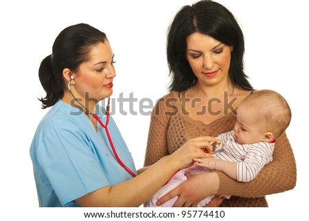 Doctor woman examine baby girl in her mother arms isolated on white background - stock photo