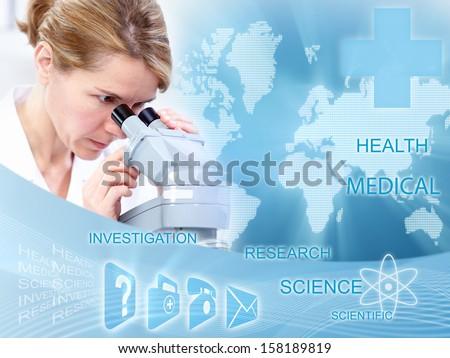 Doctor woman in laboratory. Scientific health care collage. - stock photo