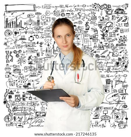 doctor woman looking at camera, with pen in her hand, isolated on different backgrounds - stock photo