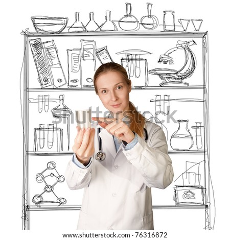 doctor woman with cup for analysis - urine, sperm