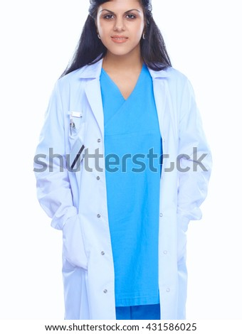 Doctor woman with stethoscope standing near wall - stock photo