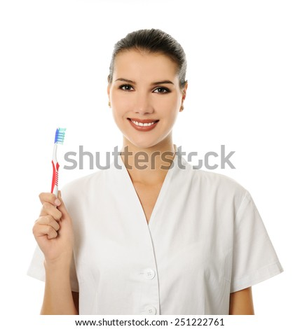 doctor woman with toothbrush - stock photo