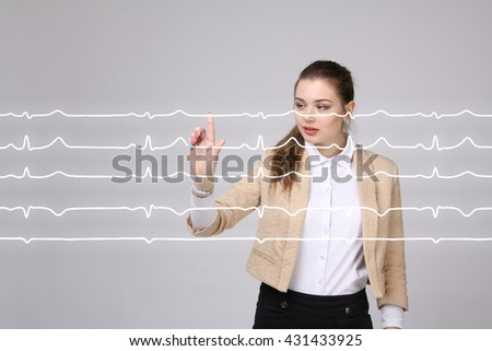 Doctor woman working with cardiogram lines - stock photo